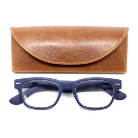 老眼鏡 女性 おしゃれ 男女兼用 眼鏡ケース付き ウェリントン ラバーコーティング (マットネイビー) 度数1.0 1.5 2.0 2.5 ブランド Bayline ベイライン