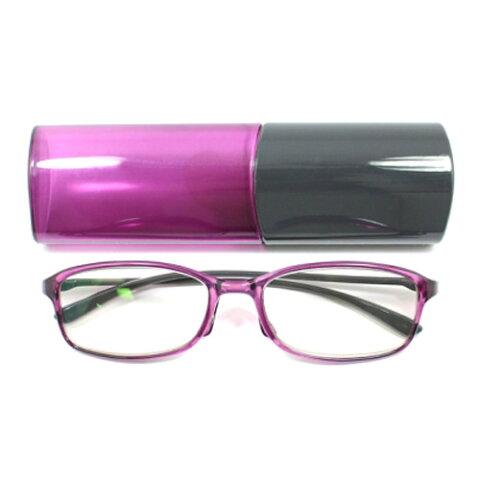老眼鏡 女性 おしゃれ 男女兼用 TR90 軽量フレーム バイカラー (グレー×パープル)眼鏡ケース付き 度数 1.0 1.5 2.0 2.5 3.0 ブランド Bayline ベイライン