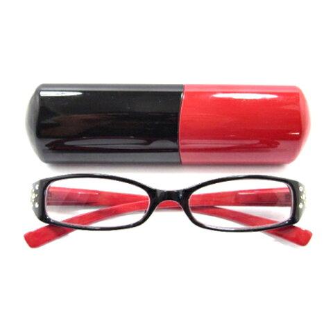 老眼鏡 女性 おしゃれ 男女兼用 PC エレガント スクエア サイドラインストーン バイカラー (レッド) pc老眼鏡 おしゃれ軽量 度数 1.0 1.5 2.0 2.5 3.0 3.5 ブランド Bayline ベイライン
