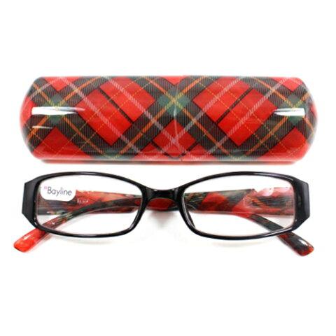 老眼鏡 おしゃれ レディース 女性用 ベーシック スクエア チェック (レッド) 眼鏡ケース付き 度数 1.0 1.5 2.0 2.5 ブランド Bayline ベイライン RG-1220-A