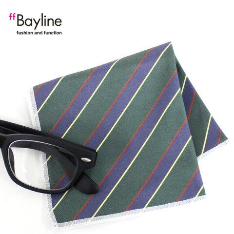 眼鏡拭き【ストライプ斜め(グリーン)】 おしゃれ メガネ クロス かわいい ストライプ グリーン プレゼント に最適 メガネ拭き 男性用 女性用ブランド Bayline ベイライン