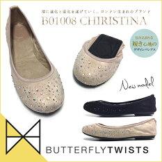 準備中Butterflytwistsバタフライツイストバレエシューズレディース折りたたみ携帯B01008CHRISTINA携帯スリッパmサイズシューズ靴