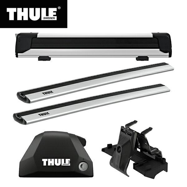 THULE(スーリー) BMW X1専用ベースキャリア(フット7206+ウイングバーエッジ 7214×2本+キット6007)+スキーキャリア スノーパック エクステンダー7325 F48