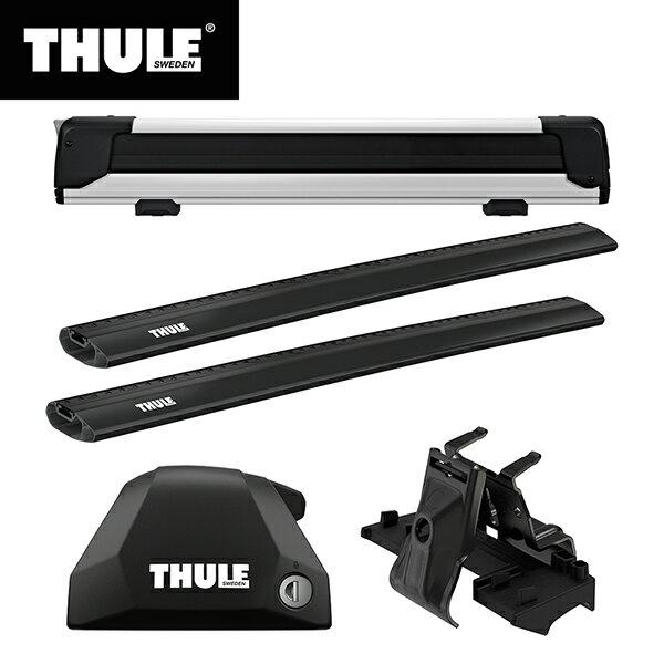 THULE(スーリー) BMW X1専用ベースキャリア(フット7206+ウイングバーエッジ 7214B×2本+キット6007)+スキーキャリア スノーパック エクステンダー7325 F48