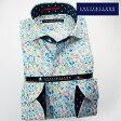 1702 国産長袖綿100ドレスシャツ カッタウェイワイドカラー パステルカラー小花柄プリントメンズ fs3gm