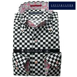 1901 国産長袖純綿ドレスシャツ ボタンダウン スリムフィット ブラック ホワイト 市松模様・チェッカープリントメンズ  fs3gm