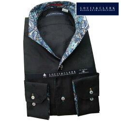 1901 国産綿100%長袖ドレスシャツ イタリアンススキッパースタンド ブラックジャガードバタフライ・蝶メンズ  fs3gm