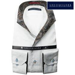 1901 国産綿100%長袖ドレスシャツ イタリアンススキッパースタンド ホワイトジャガードフラワーメンズ  fs3gm