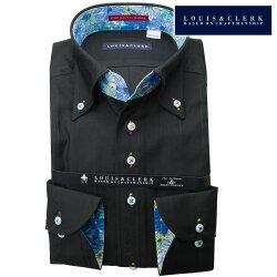 1901 国産長袖綿100%ドレスシャツ コンフォート ボタンダウン ブラック ジャガード 竹・バンブージャガード織ストライプメンズ  fs3gm