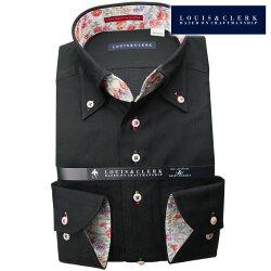 1901 国産長袖綿100%ドレスシャツ コンフォート ボタンダウン ブラック ジャガード麻葉柄メンズ  fs3gm