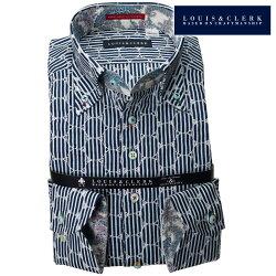 1902 国産長袖純綿ドレスシャツ コンフォート ボタンダウン コインドットレース ネイビーロンドンストライププリントメンズ  fs3gm
