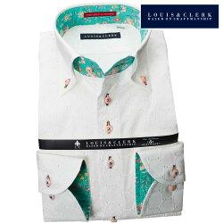 1902 国産長袖純綿ドレスシャツ コンフォート ボタンダウン コインドットレース ホワイトメンズ  fs3gm