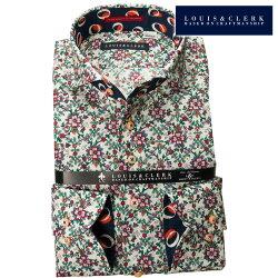 1902 国産長袖純綿ドレスシャツ コンフォート カッタウェイワイドカラー 菱型レース ボタニカルプリントメンズ  fs3gm