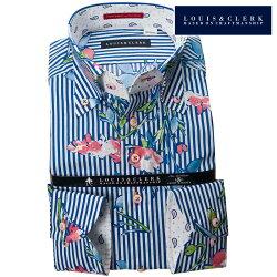 1902 国産長袖綿100%ドレスシャツ コンフォート ボタンダウン ブルーロンドンストライプ&フラワープリントメンズ  fs3gm