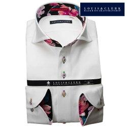 1903 国産長袖純綿ドレスシャツ コンフォート カッタウェイワイドカラー ホワイト ハート柄ジャガードデザインメンズ  fs3gm