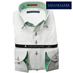1903 国産長袖純綿ドレスシャツ コンフォート ボタンダウン ホワイト ジャガードフラワー&蝶メンズ  fs3gm
