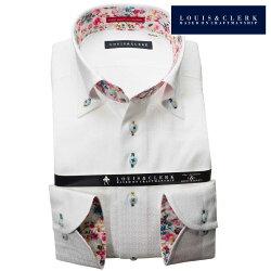 1903 国産長袖純綿ドレスシャツ コンフォート ボタンダウン ホワイト 和風幾何学格子柄メンズ  fs3gm