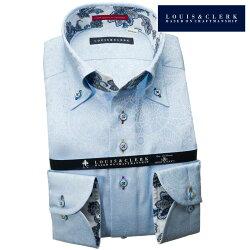 1903 国産長袖純綿ドレスシャツ コンフォート ボタンダウン スカイブルー ジャガード織ペイズリー・イスラム模様メンズ  fs3gm
