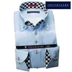 1903 国産長袖純綿ドレスシャツ コンフォート ボタンダウン スカイブルー ジャガード織競走馬柄メンズ  fs3gm