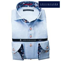 1903 国産長袖純綿ドレスシャツ コンフォート カッタウェイワイドカラー スカイブルー ジャガード扇子花柄メンズ  fs3gm