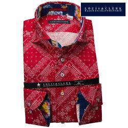 1903 国産長袖純綿ドレスシャツ コンフォート カッタウェイワイドカラー レッドバンダナ柄プリントメンズ  fs3gm