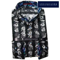 1903 国産長袖純綿ドレスシャツ コンフォート カッタウェイワイドカラー ブラックホワイト ハイビスカス柄プリント ガーゼ生地メンズ  fs3gm