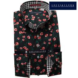 1903 国産長袖純綿ドレスシャツ コンフォート ボタンダウン プリント柄 ブラック 赤い花柄プリントメンズ  fs3gm