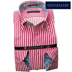 1903 国産長袖純綿ドレスシャツ コンフォート ボタンダウン レッドロンドンストライプメンズ  fs3gm