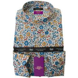 リバティプリント タナローン 国産長袖綿100%ドレスシャツ コンフォート スタンドカラー ボタニカル