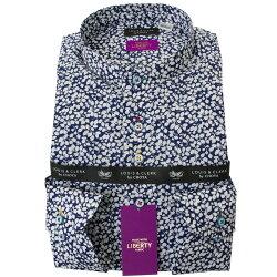 リバティプリント タナローン 国産長袖綿100%ドレスシャツ コンフォート スタンドカラー グレンジェイド タナローン