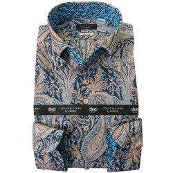 リバティプリント 国産長袖綿100%ドレスシャツ 不リムフィット ボタンダウン フェリックス・アンド・イザベル タナローン 2001