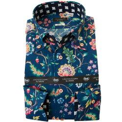 リバティプリント 国産長袖綿100%ドレスシャツ 不リムフィット ボタンダウン エヴァ・ベル タナローン