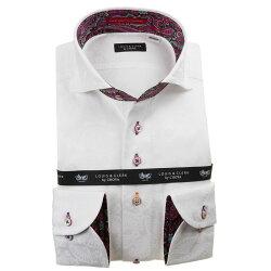 国産長袖綿100%ドレスシャツ コンフォート カッタウェイワイド ホワイト 白 ジャガード織柄 扇 扇子 1912