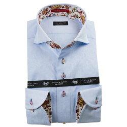 国産長袖綿100%ドレスシャツ カッタウェイワイドカラー コンフォート スカイブルー ジャガード織柄 蔦葉花 アイビーフラワー 1912