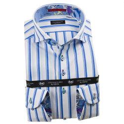 国産長袖綿100%ドレスシャツ コンフォート カッタウェイワイドカラー シックシンストライプ ホワイト スカイブルー 1912