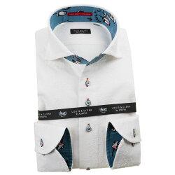 国産長袖綿100%ドレスシャツ コンフォート カッタウェイワイド ホワイト 刺繍生地 花 太陽 渦 1912