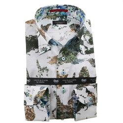 国産長袖綿100%ドレスシャツ コンフォート ボタンダウン プリント 迷彩柄風世界地図柄 ワールドマップ 1912