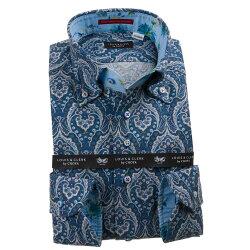 国産長袖綿100%ドレスシャツ コンフォート ボタンダウン 起毛 ダマスク風ペイズリー柄プリント 1911