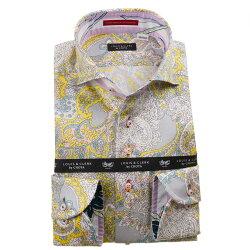 国産長袖綿100%ドレスシャツ コンフォート カッタウェイワイド ペイズリー総柄プリント イエロー ホワイト グレー 1912