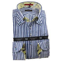 国産長袖綿100%ドレスシャツ ボタンダウン コンフォート 着丈短め ブルーストライプ シアサッカー 1912