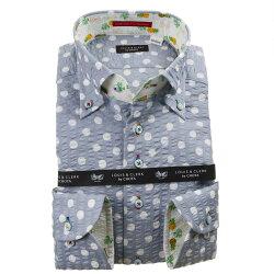 国産長袖綿100%ドレスシャツ ボタンダウン コンフォート 着丈短め グレーシアサッカーストライプ・水玉プリント 1912