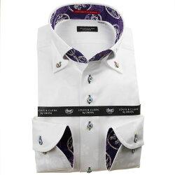国産長袖綿100%ドレスシャツ ボタンダウン コンフォート ホワイト ジャガード織柄 家紋 ファミリークレスト 1912