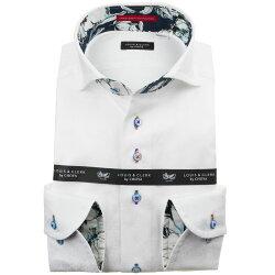 国産長袖綿100%ドレスシャツ コンフォート カッタウェイワイドカラー ホワイト ジャガード織柄 歯車機械 ギアパーツ 1912