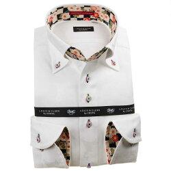 国産長袖綿100%ドレスシャツ ボタンダウン コンフォート ホワイト ジャガード織柄 迷彩柄風 日本地図 マップ 1912