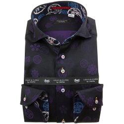 国産長袖綿100%ドレスシャツ カッタウェイワイド コンフォート ダークパープル ジャガード織柄 家紋 ファミリークレスト 1912