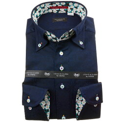 国産長袖綿100%ドレスシャツ コンフォート ボタンダウン ダークネイビー ジャガード織柄 フラワー&リング マルチパターン