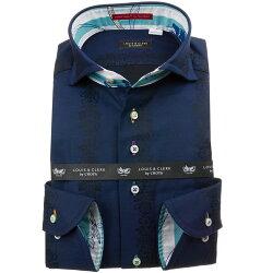 国産長袖綿100%ドレスシャツ カッタウェイワイドカラー コンフォート ネイビー ジャガード織柄  ダマスクストライプ