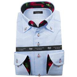 国産長袖綿100%ドレスシャツ ボタンダウン コンフォート スカイブルー ジャガード織柄 メッセージ 謝罪 1912