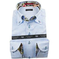 国産長袖綿100%ドレスシャツ コンフォート ボタンダウン スカイブルー ジャガード織柄 歯車機械 ギアパーツ 1912