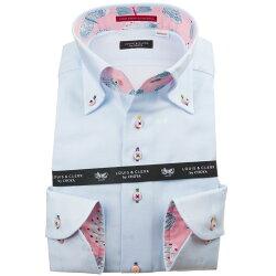 国産綿100%長袖ドレスシャツ コンフォート ボタンダウン スカイブル ジャガードリボンドット  1912